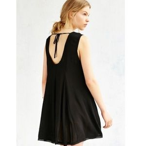 UO ecoté Raw hem trapeze dress xs black lbd
